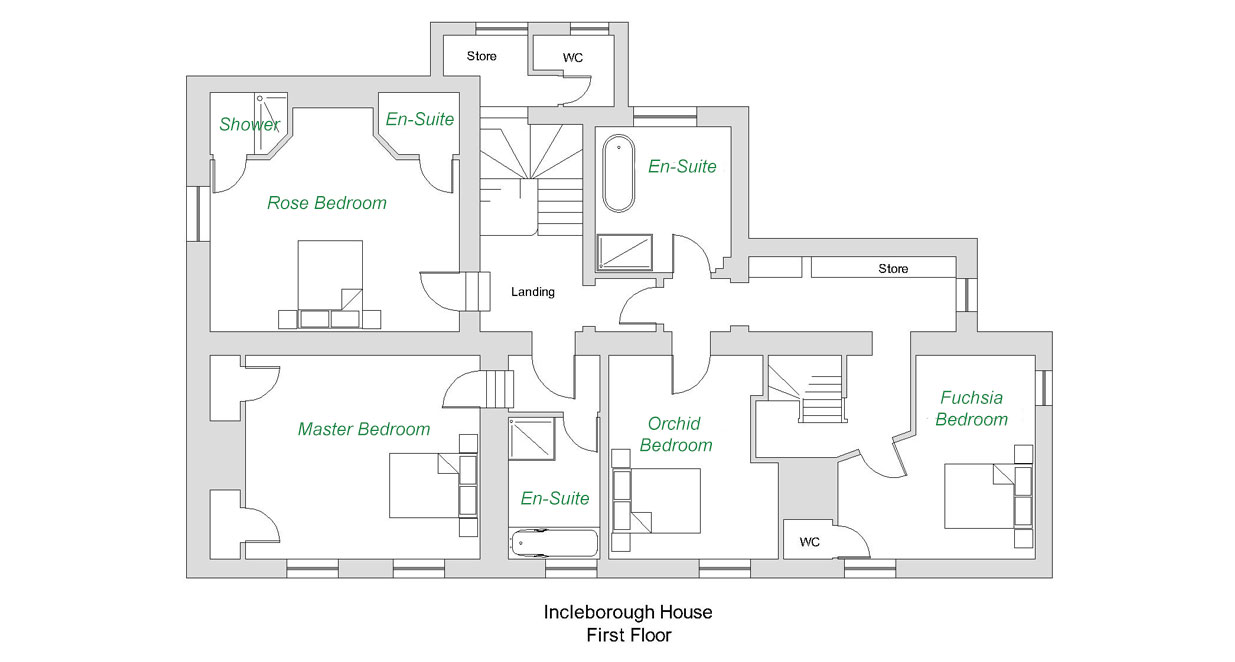 Incleborough House Large Luxury Holiday Cottage First Floor Plan