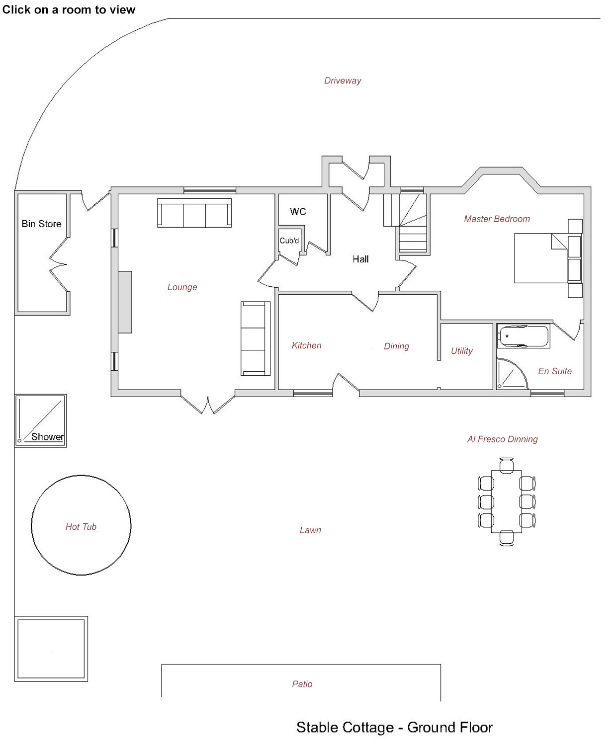 Stables Luxury Holiday Cottage Ground Floor Plan