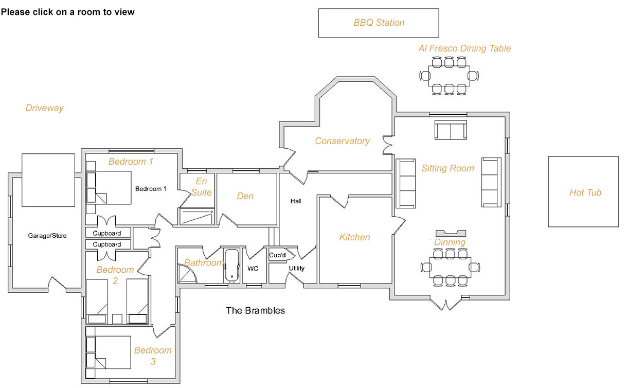 Brambles Luxury Holiday Cottage First Floor Plan